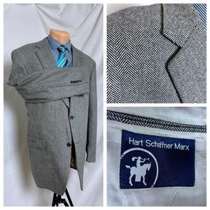 HSM Gray Houndstooth Blazer Sport Coat 44R